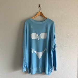 WILDFOX Bikini Oversized Sweatshirt Blue Swim NWT